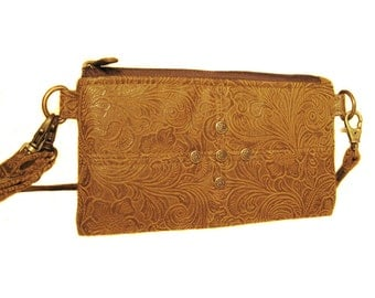 Light Brown Suede Like Leather Wallet in Floral Embossed Print - ANNIE