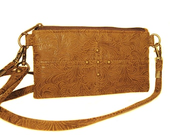 SALE! Light Brown Suede Like Leather Wallet in Floral Embossed Print - ANNIE