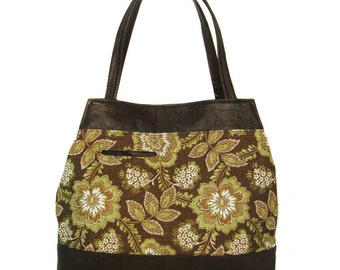 SALE Leather Trimmed Tapered Handbag - Green and Brown Floral Canvas Fabric - Brown Leather Trim - JUDIE