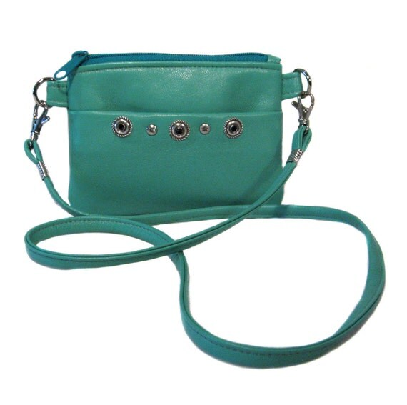Mini Leather Messenger - Wallet - Light Turquoise Blue Upcycled Lamb Leather - Silver Studs - TATUM