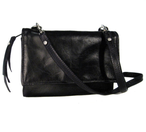 LAURA's Little Black Bag - Small Leather Messenger Bag - Italian Black Leather with Diamond Studs - LIME Green Satin Lining