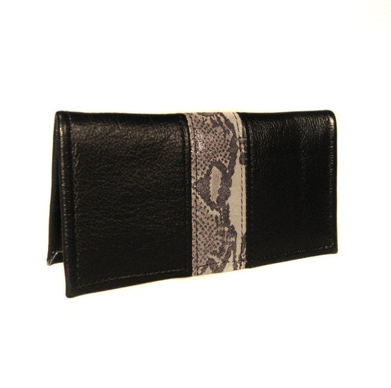 Black Leather Checkbook Cover - Silver Snake - Briana - Custom Orders Available
