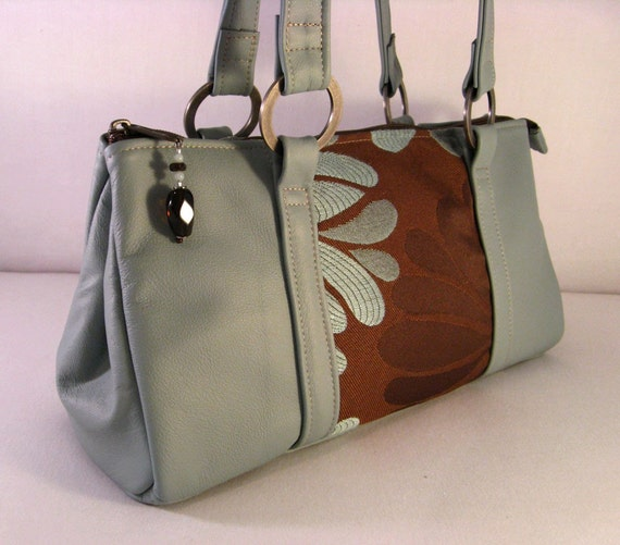 Anna Belle Leather - Chic Handbag  - Cocoa's Teal Daisy