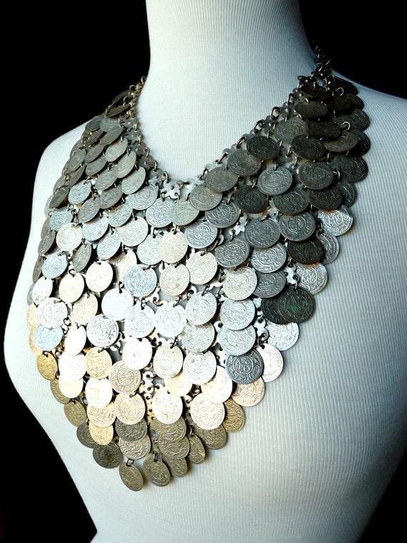 Vintage Coin Bib Necklace