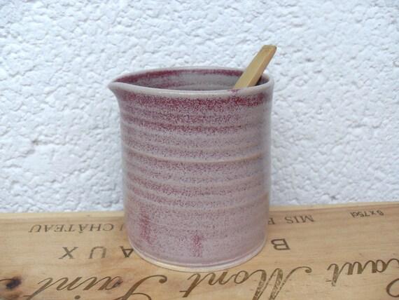 New stoneware Handle-Less Jug in Matte Raspberry Pink Blush glaze