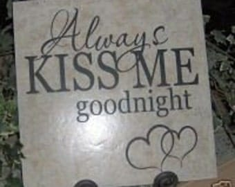 DIY Vinyl Decal Always Kiss Goodnight wall word lettersTile craft supply home decor
