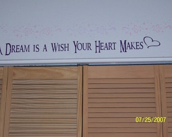 Disney wall decal quote Children A Dream is a Wish Your Heart Makes Vinyl lettering quotes sticky letters disney