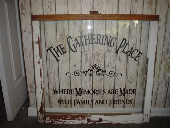 The gathering place vinyl lettering wall words quotes decals for Vinyl sayings for crafts