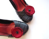 Shoe clips with handmade fabric flowers (set of 2 pcs )- CABERNET BURGUNDY