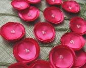 Handmade satin sew on flower appliques (15pcs)- FUCHSIA PINK SATIN