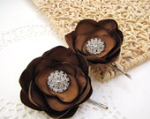 Handmade bobby pins with fabric flowers with rhinestone buttons  (set of 2 pcs) - BRIDAL BROWN BLOSSOMS