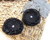 Handmade bobby pin with chiffon flowers (2 pcs) - TINY  WHITE DOTS