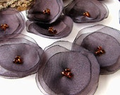 Handmade organza sew on flower appliques (15pcs)- SHIMMER DARK BROWN