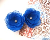 Bridal hair pins with handmade sheer voile fabric flowers (set of 2 pcs) - ROYAL BLUE MAGNOLIA