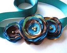 Bridal sash belt with handmade fabric flowers- PEACOCK THEME WEDDING