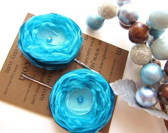 Bobby pins with handmade satin and sheer voile flowers (set of 2 pcs) - TURQUOISE FLOWERS  (h47)