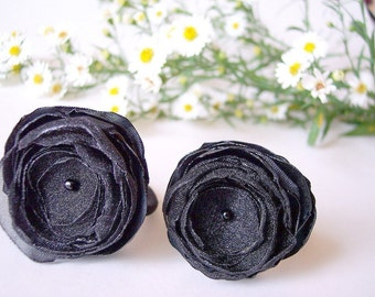 Ponytail holders with handmade satin and organza flowers BLACK - set of  2pcs