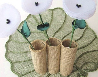 Handmade flowers with stems- set of 3 pcs- WHITE