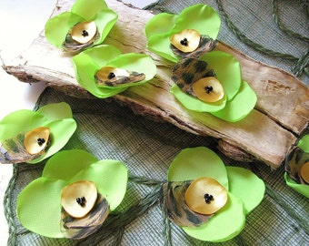 Large handmade sew on flower appliques (6 pcs)- LIME GREEN Tiger Orchids