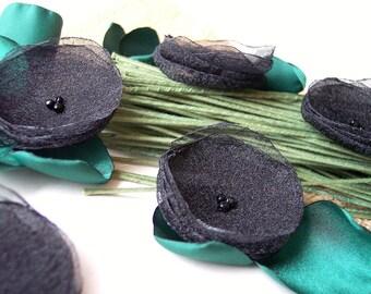 Poppy Garden- Handmade organza sew on flower appliques, fabric flower, silk flower appliques, floral supplies (10 pcs)- BLACK POPPIES