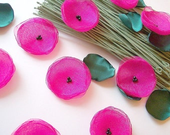 Poppy Garden...Handmade organza sew on flower appliques (10 pcs)- FUCHSIA PINK POPPIES