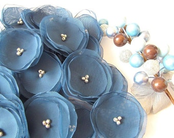 Fabric flower appliques, handmade sheer voile flower appliques, fabric appliques, flowers for crafts (15 pcs)- DUSTY BLUE BLOSSOMS