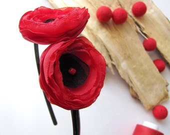 Floral headband, fabric flower hair accessory, red poppy hair band, poppy headband, fabric flowers for hair, wedding headband- RED POPPY