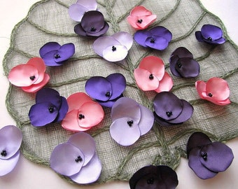 Hydrangea Blossoms-Handmade satin sew on flower appliques (20 pcs)-  PURPLE MEADOW (Bubblegum Pink- Periwinkle- Amethyst- Eggplant Purple)