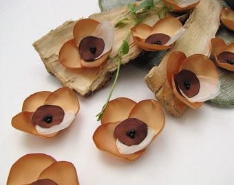 Handmade sew on flower appliques (6 pcs)- GOLDEN ORCHIDS