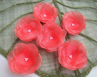 Water Lilies-  Floral embellishments, handmade organza sew on flower appliques, fabric flowers for crafts (5 pcs)- CORAL PINK