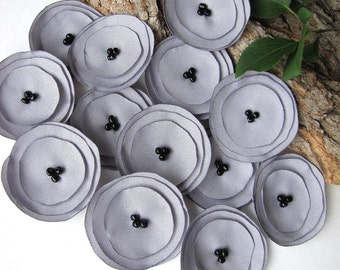 Handmade crepon fabric sew on flower appliques (15pcs)- SOLID GRAY BLOSSOMS