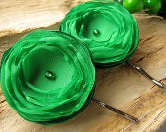 Floral hair accessories, fabric flower bobby pins, sheer voile hair pins, bridal hair accessories(set of 2 pcs) - LUSCIOUS SHAMROCK GREEN