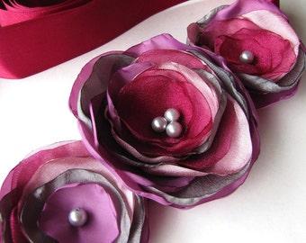 Bridal sash belt with handmade fabric flowers- VINEYARD WEDDING