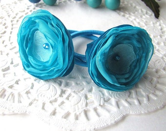 Ponytail holders with handmade satin and sheer voile flowers (2pcs)- TURQUOISE BLOSSOMS (h39)