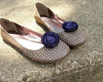 Shoe clips with handmade fabric flowers (set of 2 pcs )-  EGGPLANT PURPLE