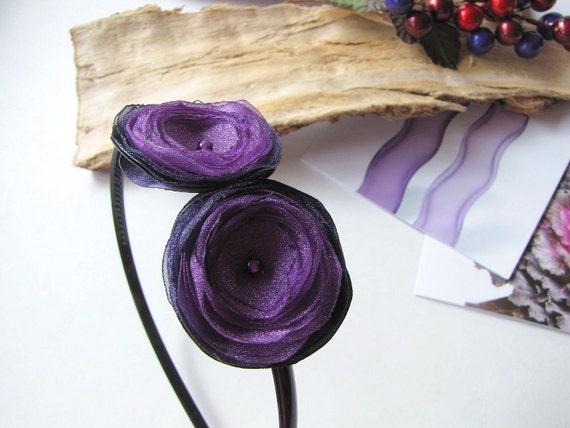 Headband with handmade satin and organza flowers- ALL PURPLE