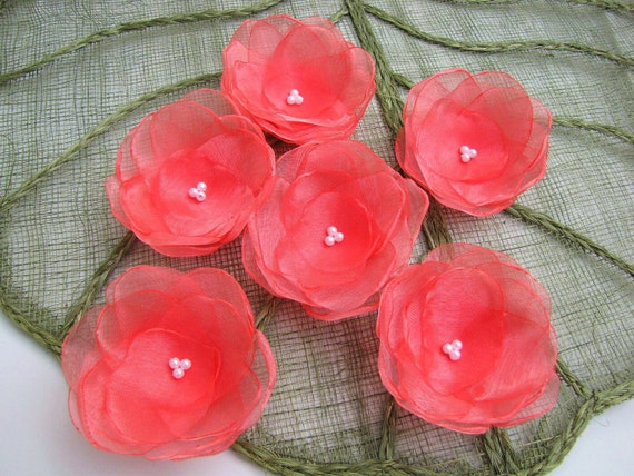 Ninfee floral abbellimenti organza fatti a mano e cucire su - Flores de telas hechas a mano ...