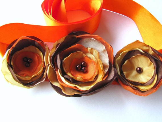 Bridal sash belt with handmade fabric flowers- AUTUMN WEDDING