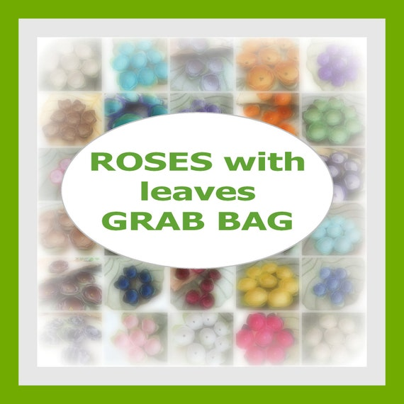 Handmade fabric flower appliques, floral embellishments, flowers for crafts (5 pcs) - GRAB BAG- Select your own set of Roses With Leaves