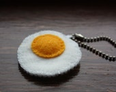 Felt Fried Egg Keychain or Dangly