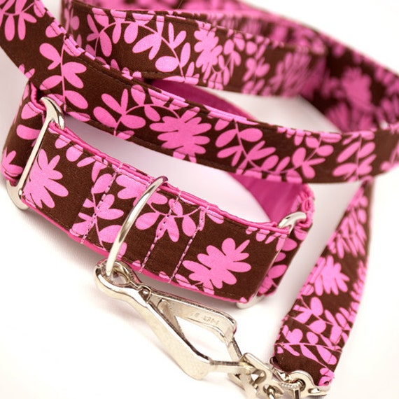 Leash and Martingale Collar Set - Pink Sprouts