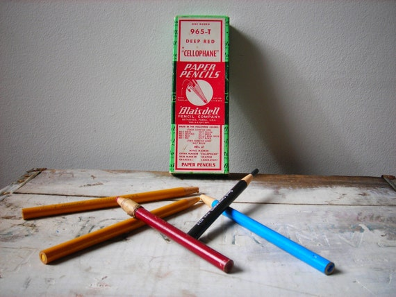 Vintage Art Supplies ... 5 Colored Pencils China Markers in Yellow or Gold with Black Blue and Red