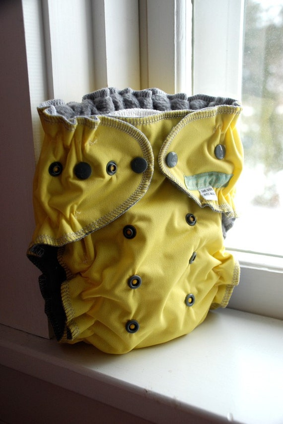 one size quick dry all in one cloth diaper - yellow and grey