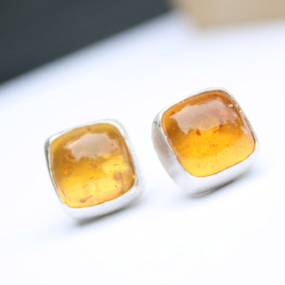 Amber Square Cushion Ear Studs in Sterling