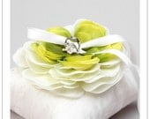Serena bloom - cream and green gradation flower on cream silk dupioni wedding ring pillow