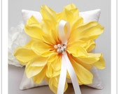 SUNBURST series - canari yellow bloom on cream silk dupioni wedding ring pillow