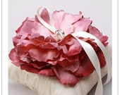 LORA BLOOM - antique fushia flower on ivory silk dupioni wedding ring pillow -LAST ONE-