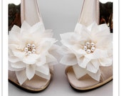 reserved for MoochWebb - Stella shoe clips - ivory chiffon flowers with gold plated pearl flower charm