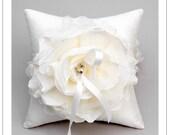 LAUREL - ivory taffeta and tulle flower on cream silk dupioni wedding ring pillow 8x8