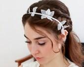 Bridal flapper, headwrap, Wedding hair piece, bridal headband, woodland headpiece